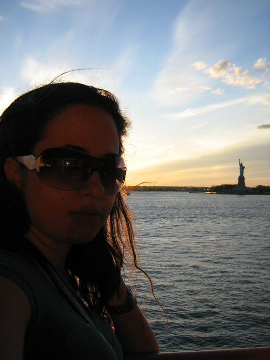 Sunset and the Statue of Liberty